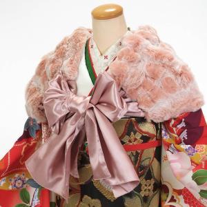 ショール 成人式 振袖 ドレス ストール サテンリボン ラビットファー ピンク|yamaki
