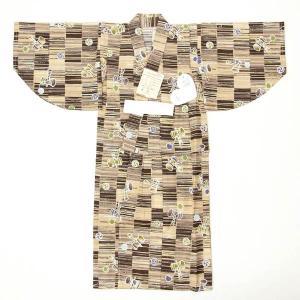 子供浴衣 男の子 100 3-4歳 単品 揚げ加工・紐付き 安心の日本の染め 茶色 yamaki
