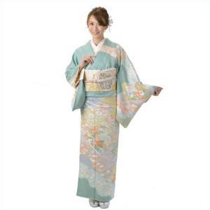 訪問着 正絹 仕立て上がり 単品 グリーン 結婚式 入学式 入園式 卒業式 卒園式 yamaki
