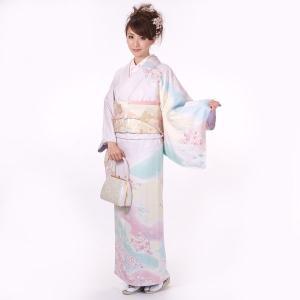 訪問着 正絹 仕立て上がり 着物 単品 紫 結婚式 入学式 入園式 卒業式 卒園式 yamaki