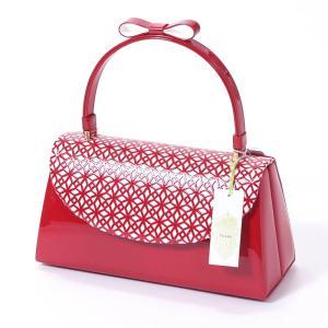 和装バッグ 成人式 振袖 fussa 日本製 赤 クリスタルパンチング yamaki