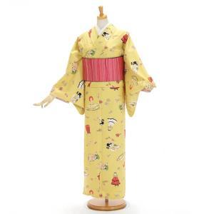 洗える着物 レトロ 岡重 レディース 袷 カジュアルきもの 日本製 ドール イエロー yamaki