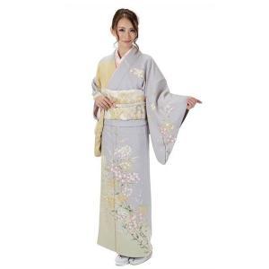 訪問着 正絹 仕立て上がり 着物 単品 グレー 結婚式 入学式 入園式 卒業式 卒園式 yamaki