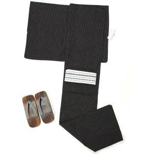 浴衣 メンズ 男 紳士 綿・麻 3点セット M・Lサイズ 浴衣+角帯+下駄 仕立て上がり 清涼ゆかた 涼しい 縞 黒|yamaki