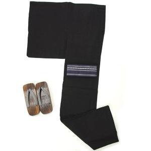浴衣 メンズ 男 紳士 綿・麻 しじら織り 3点セット Mサイズ 浴衣+角帯+下駄 仕立て上がり 清涼ゆかた 涼しい 縞 黒|yamaki
