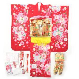 七五三 着物 7歳 女の子 着物 フルセット 正絹 赤【半衿付け・揚げ加工サービス】|yamaki