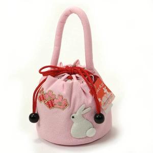 七五三 巾着 お花刺しゅう付き 子供巾着 女の子 3歳 ピンク うさぎ|yamaki