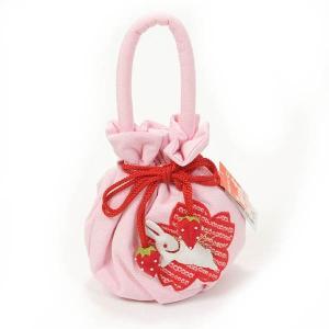 七五三 巾着 子供巾着 女の子 3歳 パッチワーク ピンク うさぎ|yamaki