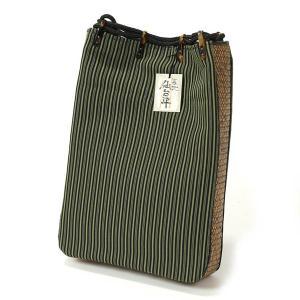 信玄袋 メンズ 絹 籐使用 巾着 男性用 仙台平 縞 緑 yamaki