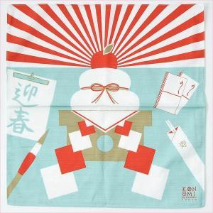 風呂敷 鏡餅 迎春 お正月 タペストリー シャンタン 約50cm 日本製 綿100%|yamaki