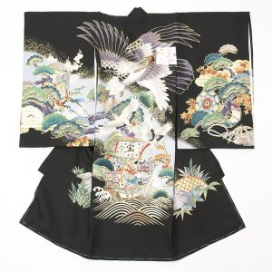お宮参り着物 のしめ 男の子 正絹 日本製 黒色 鷹|yamaki