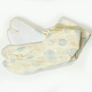 足袋 柄足袋 女性用 春・夏用 4枚こはぜ ドット柄 ブルー 23cm|yamaki