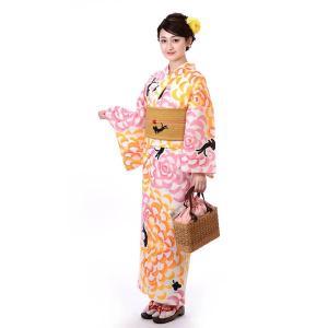 ゆかた 女性 単品 tsumori chisato ツモリチサト 花とねこ 下駄・竹のうちわプレゼント中|yamaki