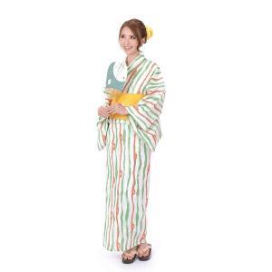 ゆかた 女性 3点セット hiromichi nakano 吸水速乾 白地に縞|yamaki