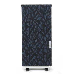 浴衣 反物 紳士 ViVi 未仕立て品 日本製 綿 変わり織り 型染め 青×黒 オプションでお仕立て承ります yamaki