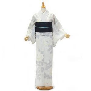 浴衣 撫松庵 ゆかた ブランド 女性 単品 東レ クールでドライな素材セオアルファ使用 日本製 しろたえ牡丹 薄グレー yamaki