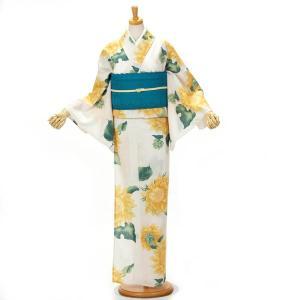 浴衣 撫松庵 ゆかた ブランド 女性 単品 東レ クールでドライな素材セオアルファ使用 日本製 向日葵 生成り yamaki