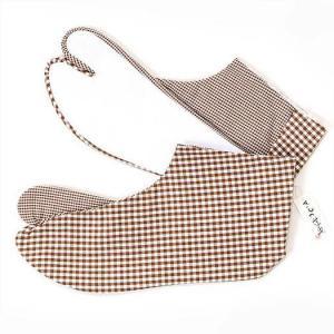 足袋 きもの道楽ギンガムチェック柄 茶系 柄足袋|yamaki