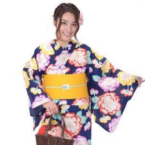 浴衣 3点セット レディース 山本彩 紺地に花|yamaki