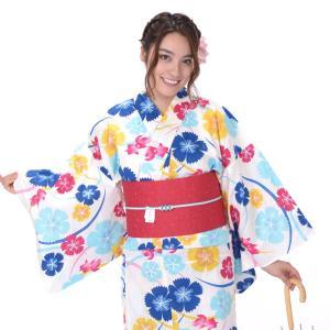 浴衣 3点セット レディース 山本彩 白地になでしこ・金魚|yamaki