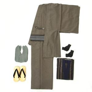 男着物 8点セット オンライン着方レッスンサポート付き Lサイズ 紳士 メンズ 洗える着物 袷 カジュアル カーキグレー yamaki