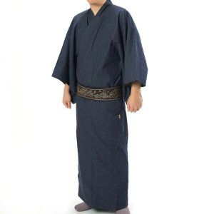 紳士着物 デニム 単衣 和人 カジュアル インディゴ 綿 M・L|yamaki