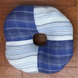 キョーエー 先染め綿ドーナツクッション しじら織り 直径40cm BL