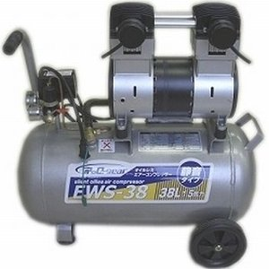 シンセイ 静音オイルレスコンプレッサー38L オイルフリー エアーコンプレッサー EWS-38 WBS-38 【〇】|yamakishi