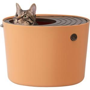 アイリスオーヤマ 上から猫トイレ 【プチサイズ】オレンジ PUNT-430|yamakishi