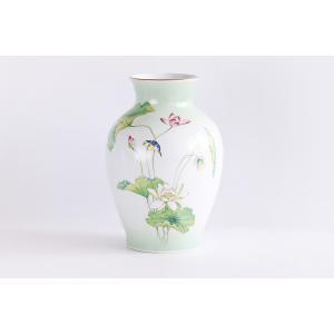 国産 陶器 ■ 上蓮 8寸 瑠璃 2本組 ■ 花瓶 ■ 仏壇 お盆 お彼岸 お墓参り 供養|yamako-showten