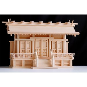 匠造り ■ 木曽ひのき ■ 極上唐戸 通し屋根三社 小型 ■ 丸柱仕様 ■ 神棚|yamako-showten