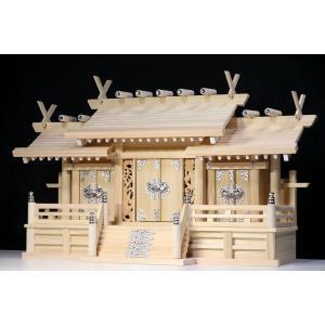 屋根違い■銀風三社■鳳凰の彫刻■特大型 幅80cm■東濃ひのき 神棚|yamako-showten