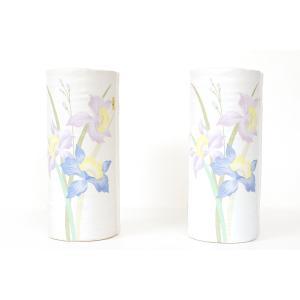 国産 投入 花瓶 寸胴  ■ カトレア 巻型 ■ 2本組 高さ24cm|yamako-showten