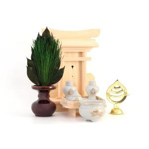 荒神宮■ 専用 神棚セット ■台所 三方荒神■陶器  一式■東濃桧|yamako-showten