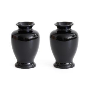 国産 陶器 夏目 ■ 花瓶 ■ 黒無地 4寸 ■ 2本組 ■ 高さ13cm ■ 仏壇 お盆 お彼岸 お墓参り 供養|yamako-showten