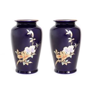 国産 陶器 花瓶 ■ 木蘭 6寸 ■ 太口 ルリ ■  2本組 高さ18cm ■ 仏壇 お盆 お彼岸 お墓参り 供養|yamako-showten