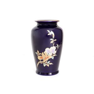 国産 陶器 花瓶 ■ 木蘭 6寸 ■ 太口 ルリ ■  高さ18cm ■ 仏壇 お盆 お彼岸 お墓参り 供養|yamako-showten