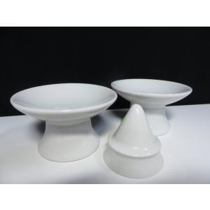 国産 神棚 陶器 ■ 盛塩セット ■ 塩盛器 & 高杯 ■ 2.5寸|yamako-showten