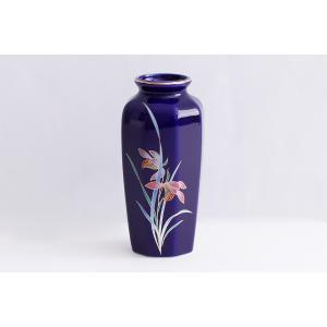 国産 陶器 花瓶 ■ 花柄 八角 ■ 5寸 瑠璃 ■ 仏壇 お盆 お彼岸 お墓参り 供養|yamako-showten
