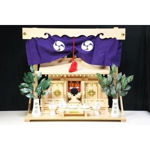 美しい、東濃桧■通し屋根 三社■神具 棚板付■神棚セット 一式|yamako-showten|02