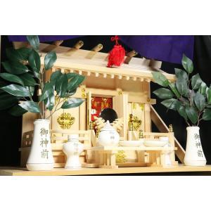美しい、東濃桧■通し屋根 三社■神具 棚板付■神棚セット 一式|yamako-showten|03