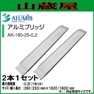 アルミス 管理機用ブリッジ AK-180-25-0.2(1セット2本)/ALUMIS|yamakura110