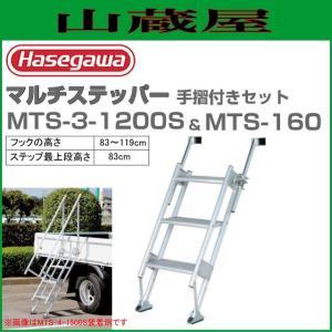 長谷川工業 MTSマルチステッパー MTS-3-1200S&手摺セット フックの高さ(89〜119cm) 階段の踏ざんが幅広で安心昇降|yamakura110