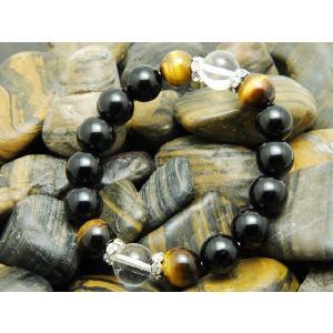 パワーストーン ブレスレット オニキス タイガーアイ 水晶 12mm玉 天然石 メンズ レディース 送料無料