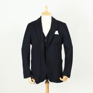 スーツ メンズ ジャージースリーピーススーツ 毛芯無し裏地無し 脱コンストラクション 国内縫製 ネイビーツイル サイズ変更可能 受注生産 納期約4週間|yamamoto-excy