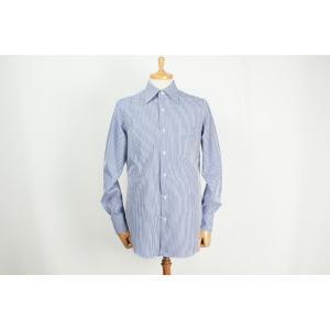 ワイシャツ THOMAS MASON生地使用 トーマスメイソン ロンドンストライプ ワイドカラーシャツ サイズ変更可能 受注生産品 納期約3週間|yamamoto-excy