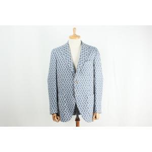 ジャケット メンズ イタリア製生地使用 ブルー格子シングルジャケット カジュアルテイスト 国内縫製 サイズ変更可能 受注生産 納期約4週間|yamamoto-excy