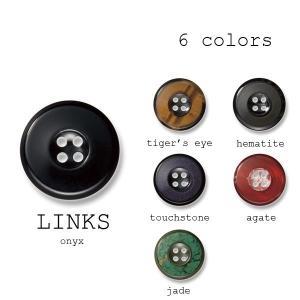 ボタン 1個から対応 貴石+ポリエステルボタン-21mm 6色展開 リンクス|yamamoto-excy