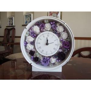 【プリザーブドフラワー】 花時計(丸型) パープル系の上品な花時計|yamamotobizyutukan1