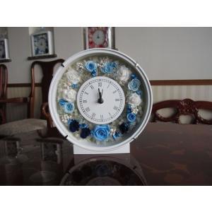 【プリザーブドフラワー】 花時計(丸型) ブルー系の上品な花時計|yamamotobizyutukan1